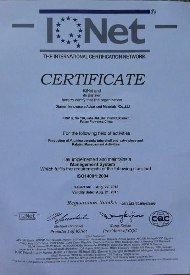Innovacera's ISO14001-2004